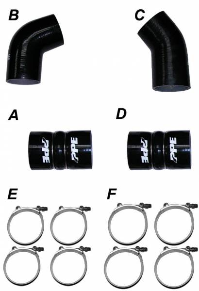PPE Diesel - LLY 04.5-05 Silicone And Clamp Kit Black PPE Diesel