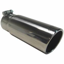 """Exhaust Tips & Stacks - 3.0"""" Inlet Exhaust Tips - MBRP Exhaust - MBRP Exhaust Tip, 3 1/2"""" O.D. Angled Rolled End, 3"""" Inlet, 10"""" length, T304 Stainless Steel, T5115"""