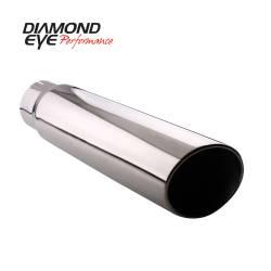 """Exhaust Tips & Stacks - 4.0"""" Inlet Exhaust Tips - Diamond Eye Performance - Diamond Eye Performance TIP; BOLT-ON ROLLED ANGLE CUT; 4in. ID X 5in. OD X 12in. LONG; 304 ST 4512BRA-DE"""