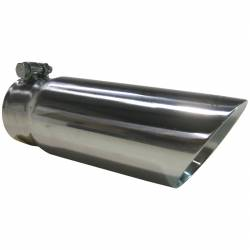 """Exhaust Tips & Stacks - 3.0"""" Inlet Exhaust Tips - MBRP Exhaust - MBRP Exhaust Tip, 3 1/2"""" O.D. Dual Wall, Angled End, 3"""" Inlet, 12"""" length, T304 Stainless Steel, T5114"""