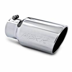 "Exhaust Tips & Stacks - 4.0"" Inlet Exhaust Tips - MBRP Exhaust - MBRP Exhaust Tip, 6"" O.D. Angled Rolled End  4"" inlet  12"" length, T304 T5073"
