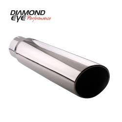"Exhaust Tips & Stacks - 4.0"" Inlet Exhaust Tips - Diamond Eye Performance - Diamond Eye Performance TIP; ROLLED ANGLE CUT; 4in. ID X 5in. OD X 22in. LONG; 304 STAINLESS 4522RA"
