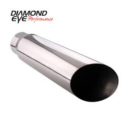 "Exhaust Tips & Stacks - 4.0"" Inlet Exhaust Tips - Diamond Eye Performance - Diamond Eye Performance,  4"" Inlet x 5"" OD x 22"" Long,  Angle Cut, T304  Stainless Steel, 4522AC"