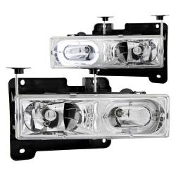 1982-2000 GM 6.2L & 6.5L Non-Duramax - GM 6.2L & 6.5L Lighting - ANZO USA - ANZO USA Crystal Headlight Set w/Halo 111006