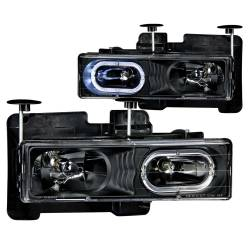 1982-2000 GM 6.2L & 6.5L Non-Duramax - GM 6.2L & 6.5L Lighting - ANZO USA - ANZO USA Crystal Headlight Set w/Halo 111007