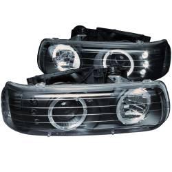 6.6L LB7Lighting - Headlights & Marker Lights - ANZO USA - ANZO USA Projector Headlight Set w/Halo 111189