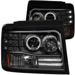 Lighting - Headlights & Marker Lights - ANZO USA - ANZO USA Projector Headlight Set w/Halo 111184