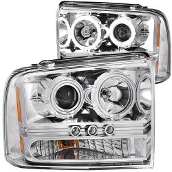 Lighting Ford for Ford Powerstoke 6.0L - Headlights & Marker Lights - ANZO USA - ANZO USA Projector Headlight Set w/Halo 111118