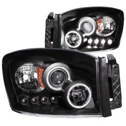 Dodge Ram 6.7L Lighting - Headlights & Marker Lights - ANZO USA - ANZO USA Projector Headlight Set w/Halo 111104