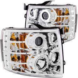 6.6L LMM Lighting - Headlights & Marker Lights - ANZO USA - ANZO USA Projector Headlight Set w/Halo 111086