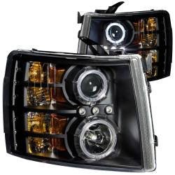 6.6L LMM Lighting - Headlights & Marker Lights - ANZO USA - ANZO USA Projector Headlight Set w/Halo 111107