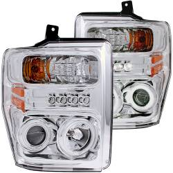 Ford 6.4L Lighting - Headlights &  Marker Light - ANZO USA - ANZO USA Projector Headlight Set w/Halo 111167