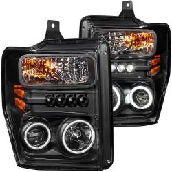 Ford 6.4L Lighting - Headlights &  Marker Light - ANZO USA - ANZO USA Projector Headlight Set w/Halo 111168