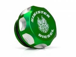 Fuel System & Components - Fuel Supply & Parts - Sinister Diesel - Sinister Diesel Billet Fuel Plug / Cap for 2013-2017 Dodge / Ram 6.7 Cummins (Green)