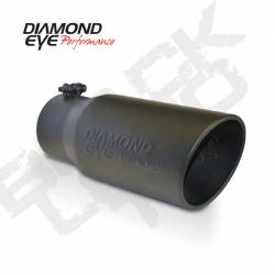 "Exhaust Tips & Stacks - 4.0"" Inlet Exhaust Tips - Diamond Eye Performance - Diamond Eye Performance 4"" INLET X 5"" OUTLET X 12"" LONG, BOLT ON, ROLLED ANGLE, BLACK, EXHAUST TIP, 4512BRA-DEBK"