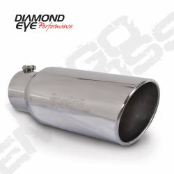 "Exhaust Tips & Stacks - 4.0"" Inlet Exhaust Tips - Diamond Eye Performance - Diamond Eye Performance, 4"" ID x 8"" OD x 18"" Long, Bolt On, Rolled Angle, Stainless Steel Exhaust Tip, 4818BRA-DE"
