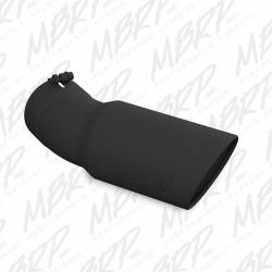 """Exhaust Tips & Stacks - 5.0"""" Inlet Exhaust Tips - MBRP Exhaust - MBRP Exhaust Tip, 6 O.D., Angled Rolled End, 5 inlet, 15 1/2 in length, 30 degree bend, Black T5154BLK"""
