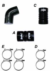 2006–2007 GM 6.6L LLY/LBZ Duramax Performance Parts - 6.6L LLY/LBZ Turbochargers & Components - PPE Diesel - LBZ/LMM 06-10 Silicone Hose And Clamp Kit Black PPE Diesel