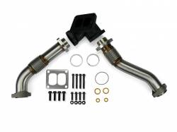 1994–1997 Ford OBS 7.3L Powerstroke Parts - Ford OBS Exhaust Parts - Spoologic - SPOOLOGIC 409SS Bellowed Exhaust Up-Pipes Kit For 94-97 7.3L Powerstroke