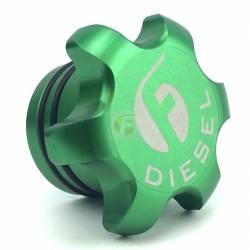 - Fleece Performance - Green Anodized Billet Fuel Cap For 2013-2018 Cummins Fleece Performance