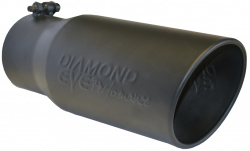 """Exhaust Tips & Stacks - 5.0"""" Inlet Exhaust Tips - Diamond Eye Performance - Diamond Eye Performance 5"""" INLET X 6"""" OUTLET X 12"""" LONG BOLT ON ROLLED ANGLE BLACK EXHAUST TIP 5612BRA-DEBK"""